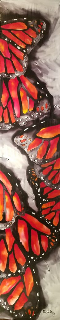 """Hand painted silk scarf.  Measures 13"""" X 71"""""""